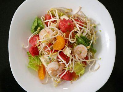 Shrimp and watermelon salad with Vietnamese mixed fish sauce