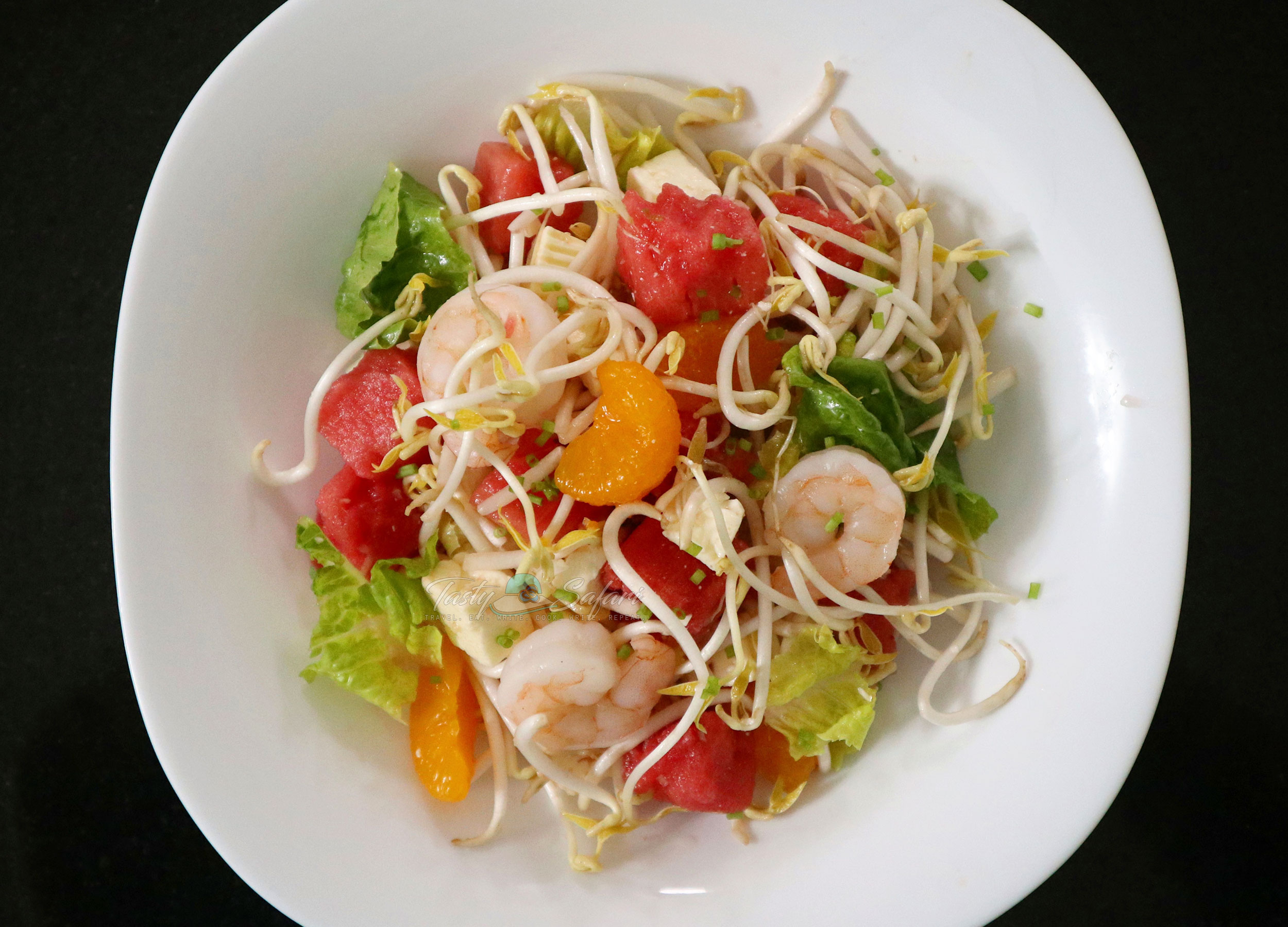 Shrimp and watermelon salad with Vietnamese mixed fish sauce