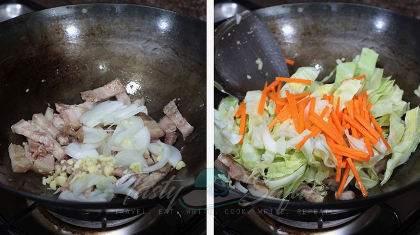 Yakisoba: Japanese Stir Fried Noodles Recipe, Step 1: Stir fry the pork with onion, garlic and ginger. Add the carrot and vegetables.