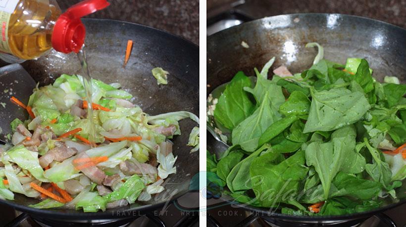 Yakisoba: Japanese Stir Fried Noodles Recipe, Step 3: Optionally, add spinach.