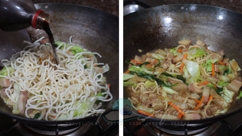 Yakisoba: Japanese Stir Fried Noodles Recipe, Step 4: Season with soy sauce and a little sugar.