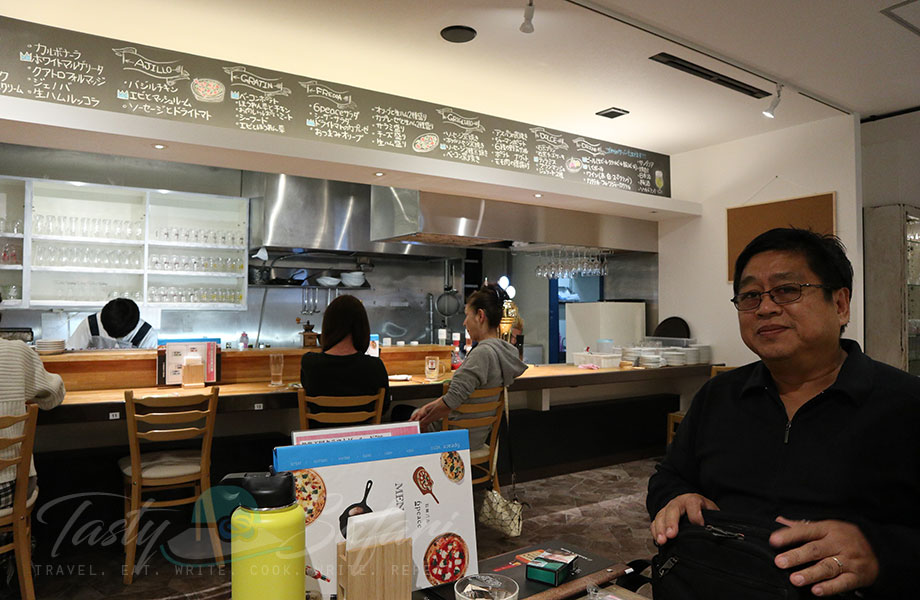 The bar at 6 Peace Pizza in Kyoto, Japan