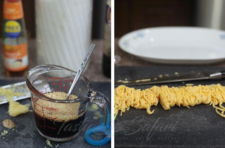 Hiyashi Chuka (Cold Ramen) Recipe, Step 2: Make the sauce and thinly slice the omelet