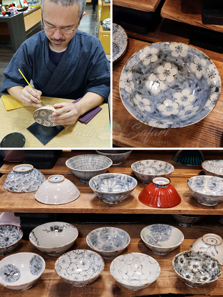 "Handpainted ""kimono"" bowls in Kyoto"