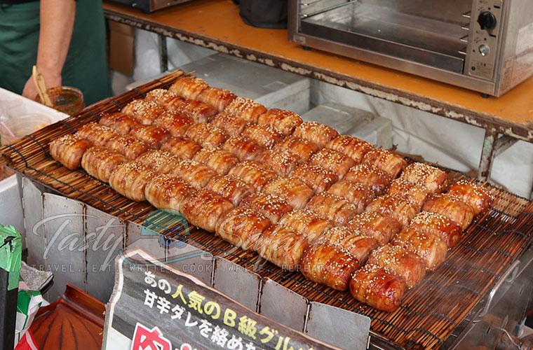 Fushimi Inari street food: meat wrapped rice balls