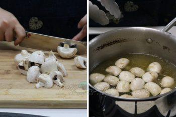 Pork Ribs and Mushrooms Teriyaki: Simmer mushrooms in dashi