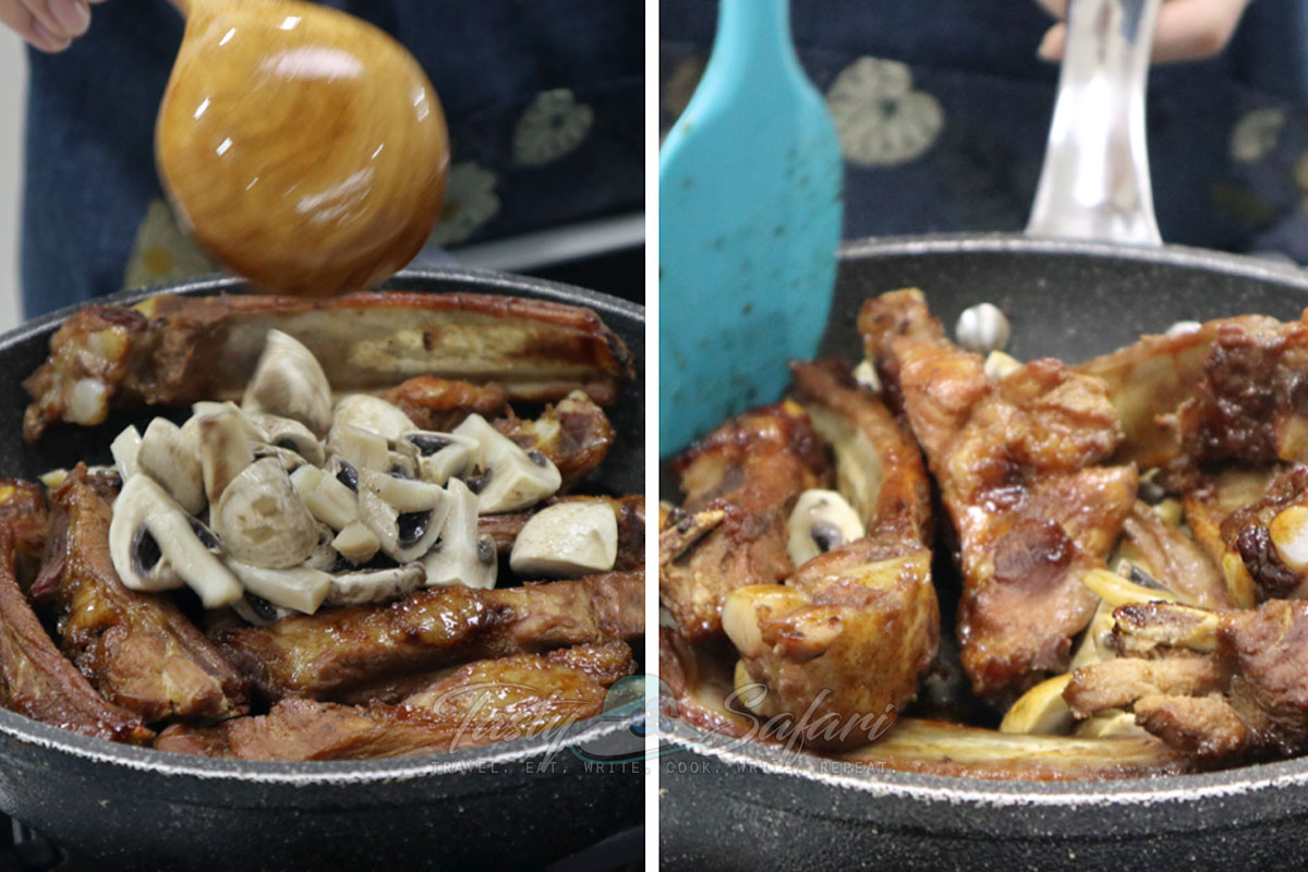 Pork Ribs and Mushrooms Teriyaki: Toss broiled ribs and mushrooms in teriyaki sauce