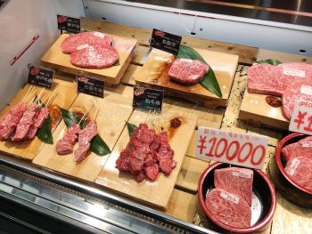 Wagyu (japanese beef) at Kuromon Market in Osaka, Japan