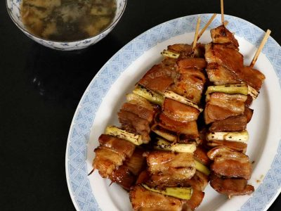 Yakiton and miso soup