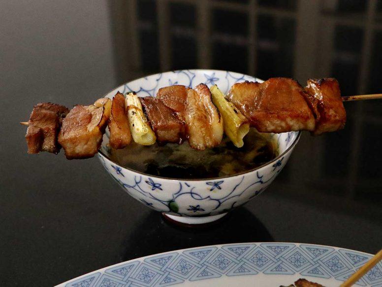 Skewered pork and scallions
