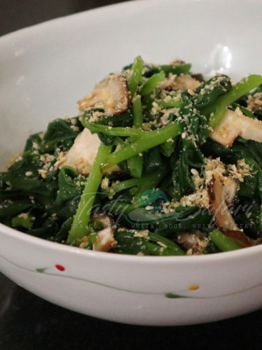 Spinach and Shiitake Oshitashi with Goma-ae (Roasted Sesame Dressing) Recipe