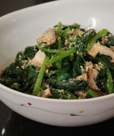 Spinach and Shiitake Oshitashi with Goma-ae (Roasted Sesame Dressing) Recipe