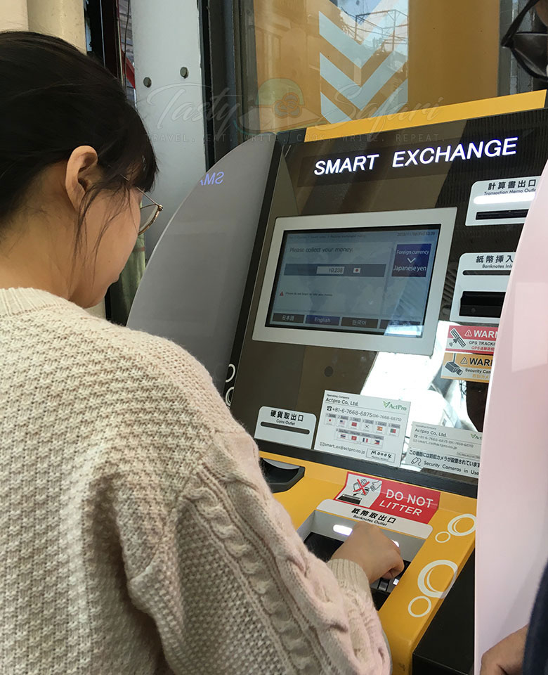 Automatic foreign exchange machine in Japan