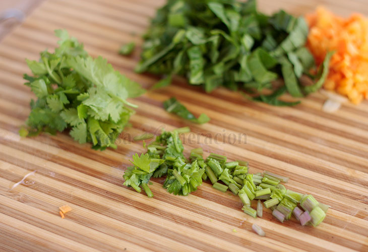 Cilantro stems, roots and leaves