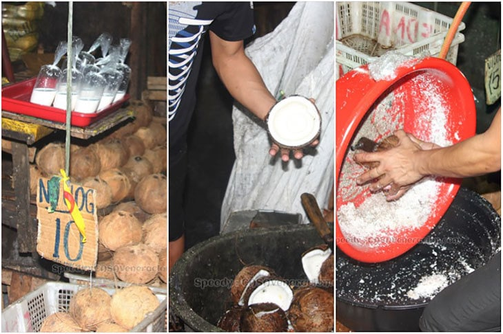Grating mature coconut