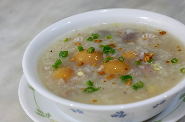 Congee with premature chicken eggs