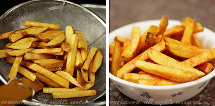 How to cook Frnech fries, step 4: Scoop out the potatoes and serve immediately