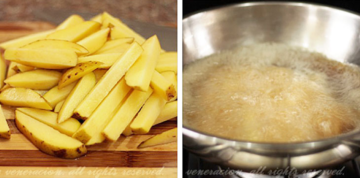 How to cook Frnech fries, step 1: Cut the potatoes while heating the oil