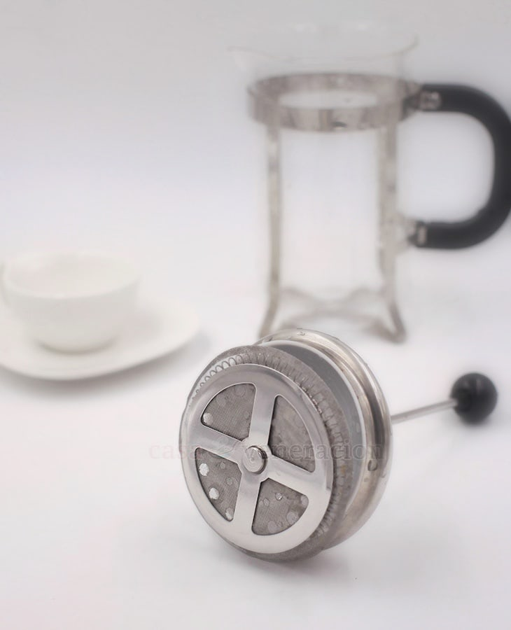French press plunger, bottom vew