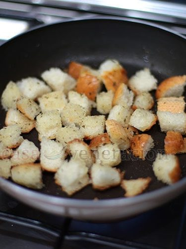 Making herbed croutons