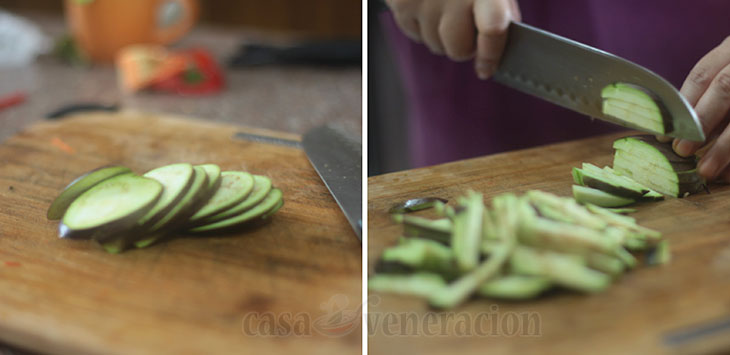 How to julienne an eggplant