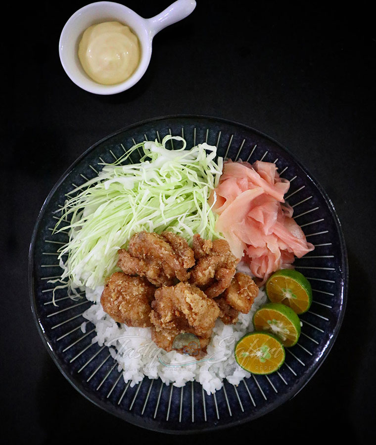 Japan-inspired Chicken karaage rice bowl