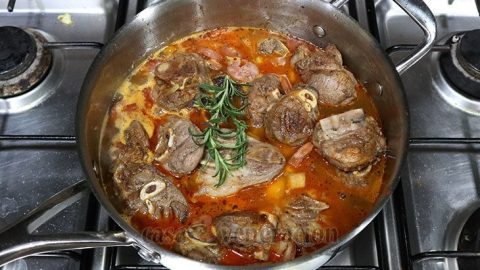 A sprig of rosemary in lamb stew