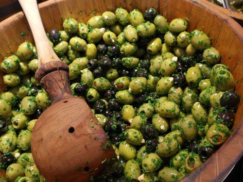 Green and black olive salad