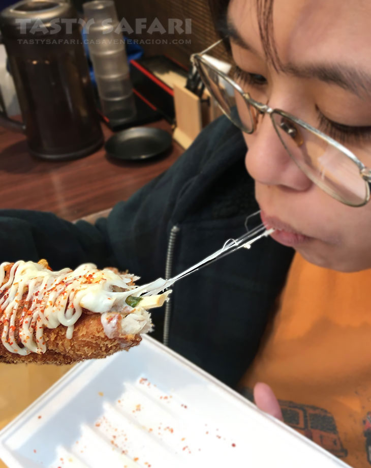 Cheese chicken katsu at Kuromon Market