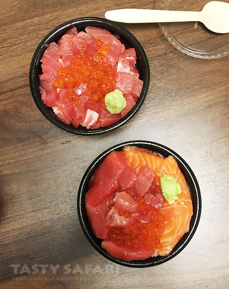 Sashimi (tuna, salmon and roe) over rice at Kuromon Market