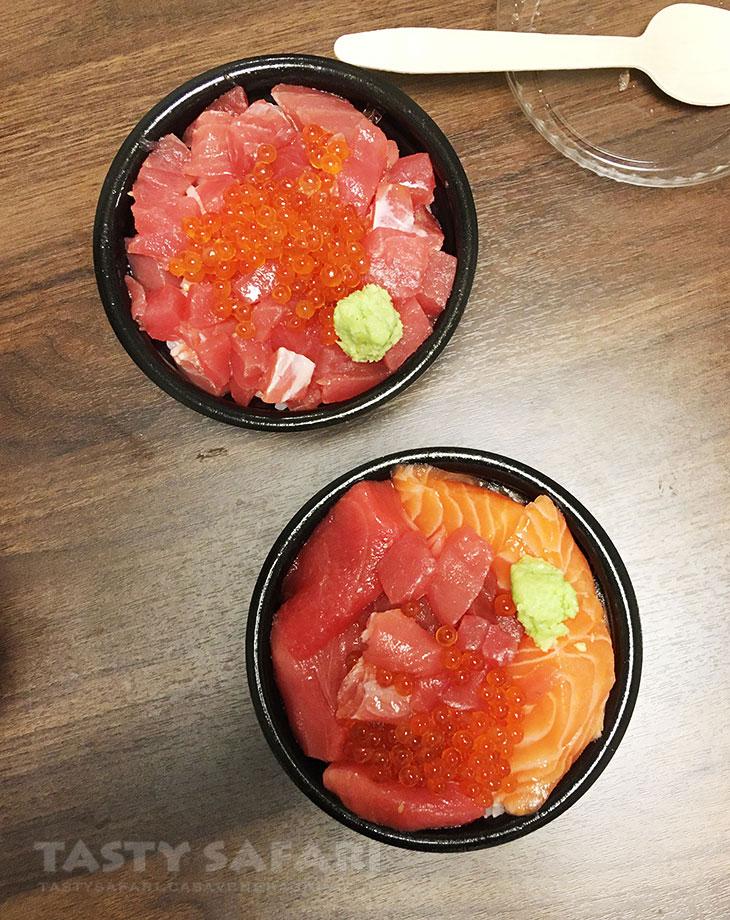 Sashimi (tuna, salmon and roe) over rice at Kuromon Market