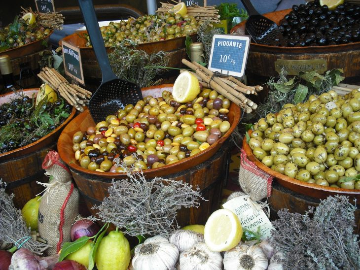 Olives in a market in Provence