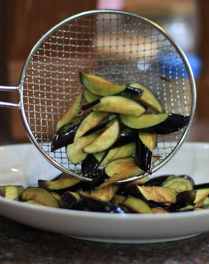 Flash fried eggplants