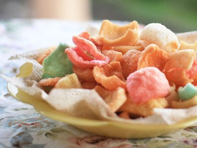 Prawn crackers in different colors
