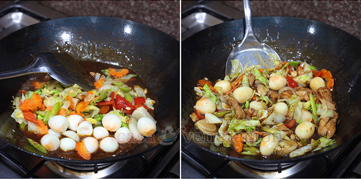 Cooking Basics for Perfect Stir Fries Tip #6: add the cooked vegetables to the meat and toss