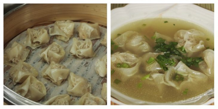 Steamed wonton and wonton soup
