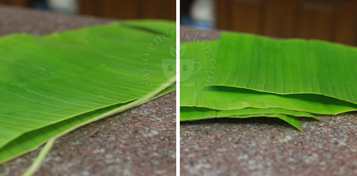 Trimming banana leaves