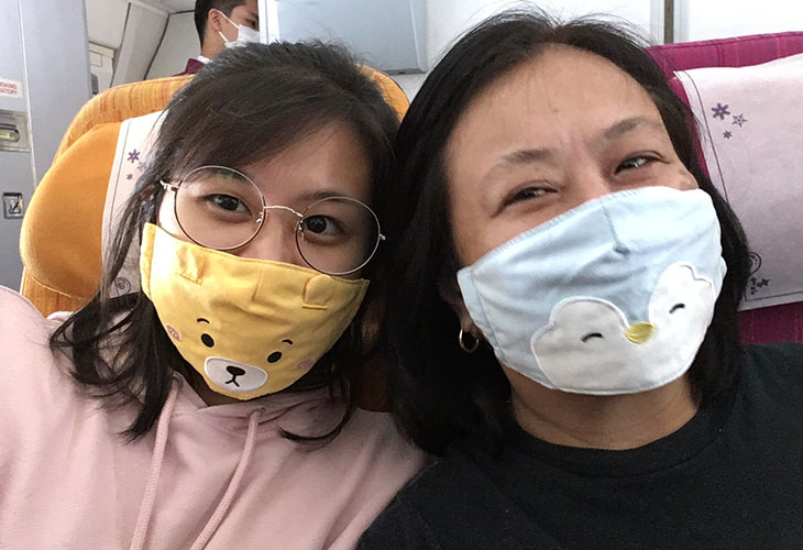 Face masks on the plane
