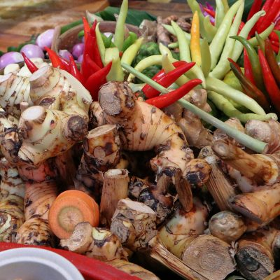 Fresh galangal, chilies and ginger