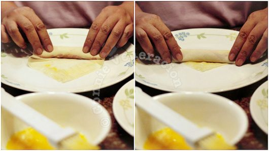 How to wrap spring rolls tutorial: sealing the filling