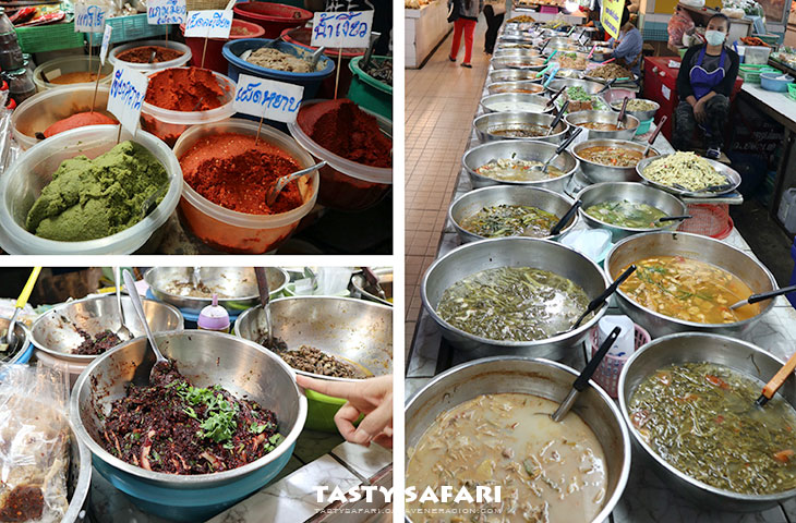 Spices and cooked food inside a market, Chiang Mai