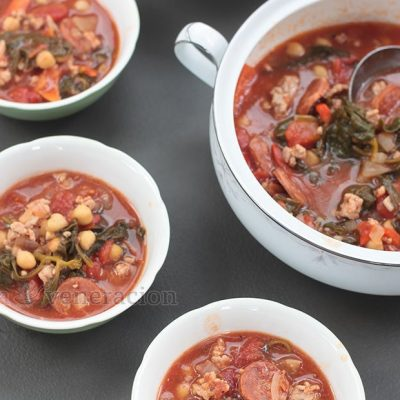 Spanish Sausage, Garbanzos and Spinach Soup