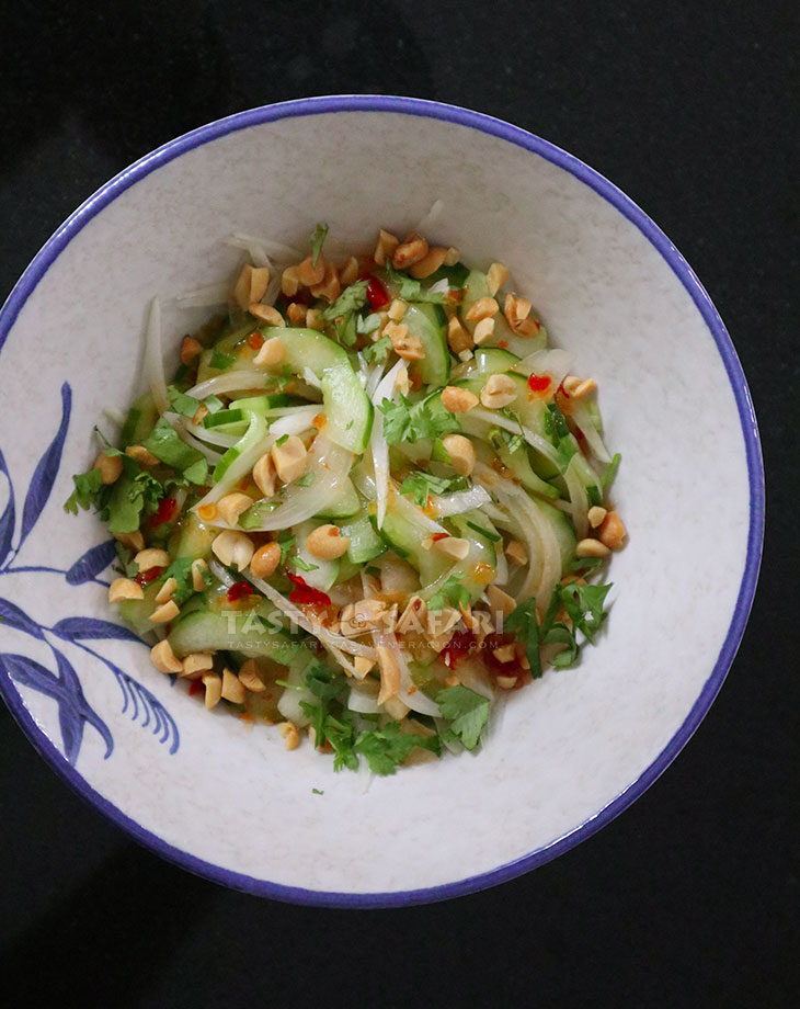 Homemade Thai Cucumber Salad with Sweet Sour Chili Dressing