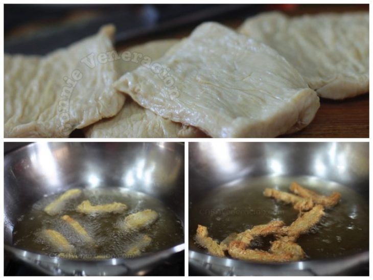 Frying fresh tofu skin