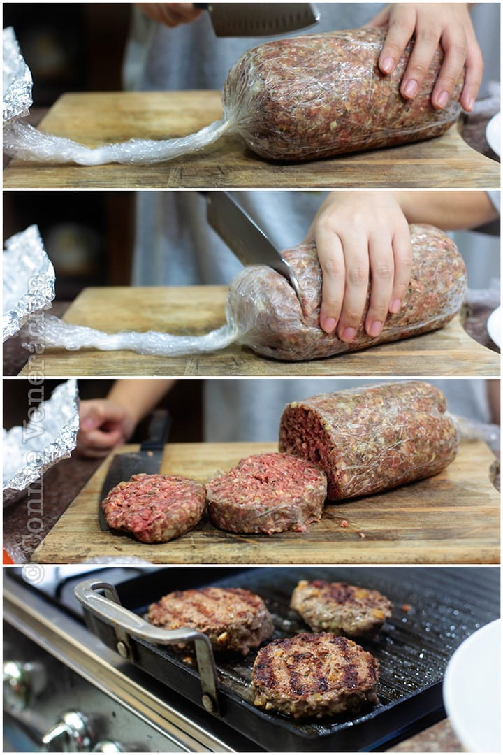Photos illustrating steps in making uniformly-sized burgers