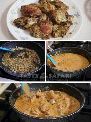 Various photos illustrating steps in cooking butter chicken