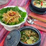 What we cooked at a Chiang Mai cooking class: Green mango salad, fish and vegetables soup and tom kha gai (chicken soup in coconut milk)