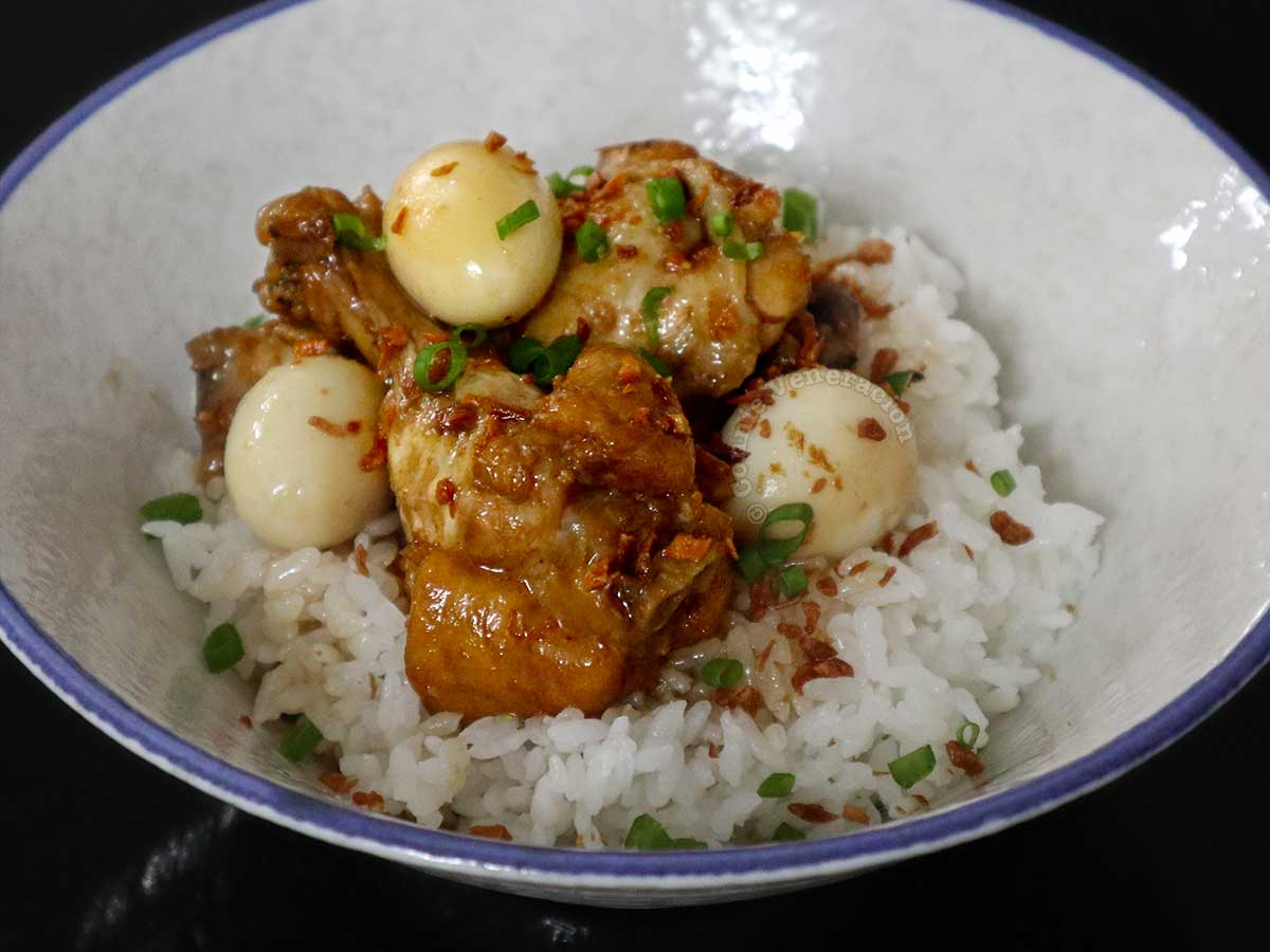 Filipino Chicken Wings Adobo and Quail Eggs Rice Bowl