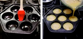 Brushing aebleskiver pan with oil and pouring in beaten eggs