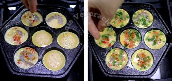 Adding whole shrimps, chopped sausage meat, bell peppers and scallions to egg in aebleskiver pan
